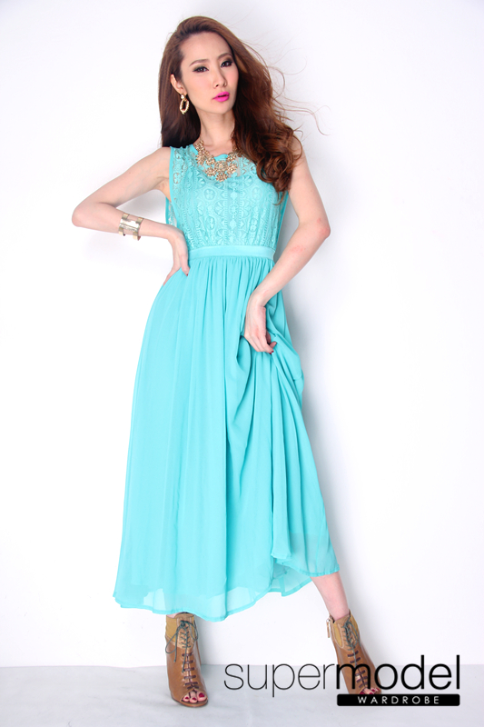 casual long dress turquoise